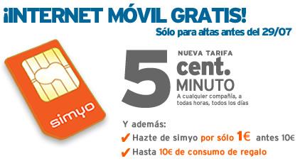 Internet móvil gratis con tarifa 5ct de simyo