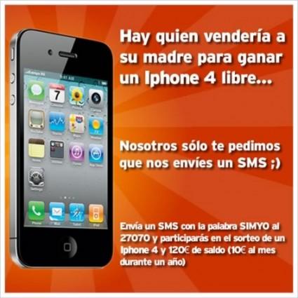Simyo sortea un iPhone 4 libre y 120€ de saldo