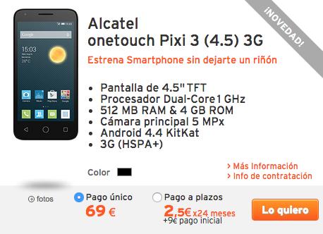 Alcatel onetouch Pixi 3 (4.5) 3G